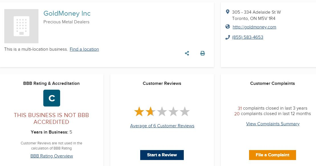 Goldmoney Review BBB Rating