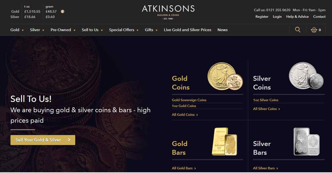 Is Atkinsons Bullion A Scam website homepage