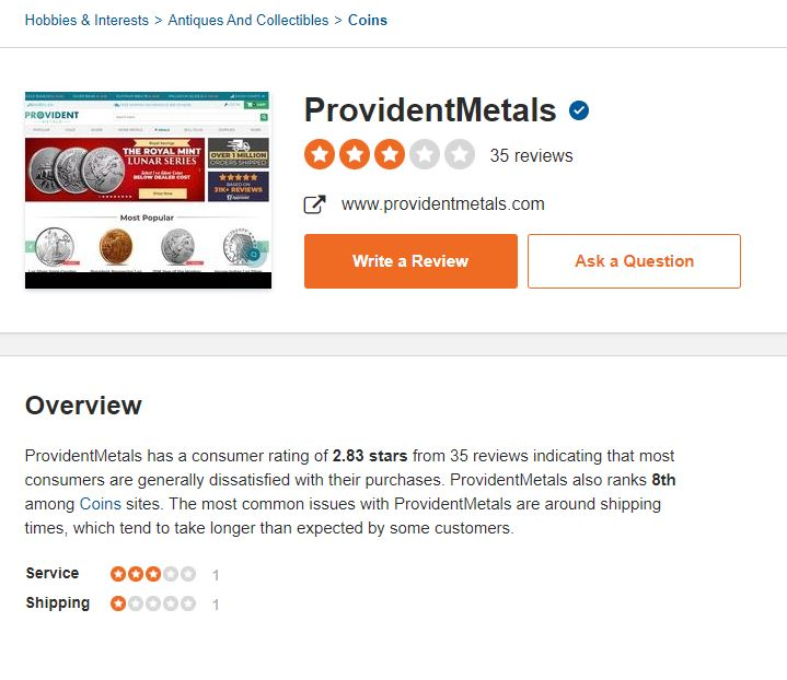 Is Provident Metals Legit Sitejabber Rating