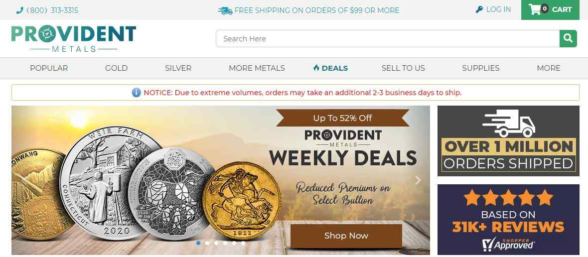 Is Provident Metals Legit website homepage